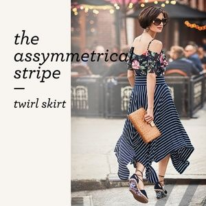 NEW $109 CaBi Twirl Skirt Nautical Stripe Small
